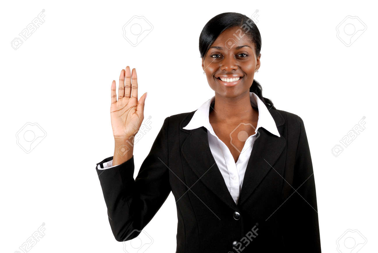 This is an image of business woman with her hand up. Stock Photo - 9393156