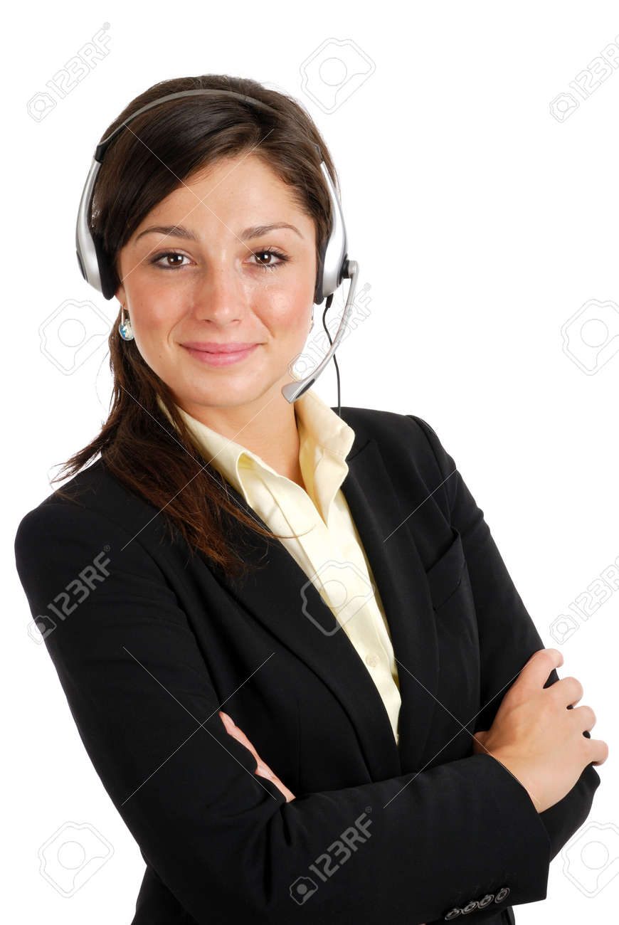 This is an image of female call center operator. Stock Photo - 9425174