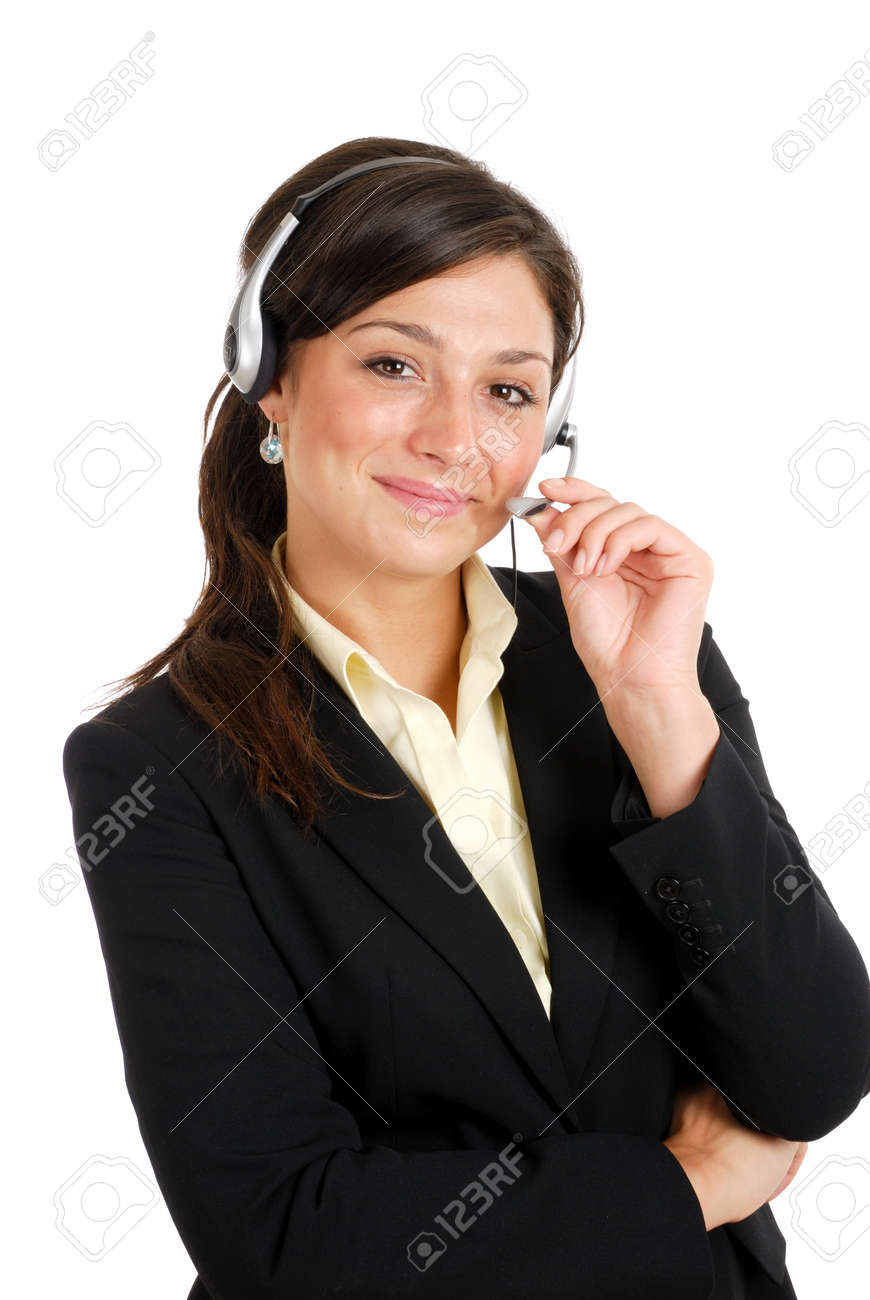 This is an image of a confident communcations business woman holding her headset. Stock Photo - 9425188
