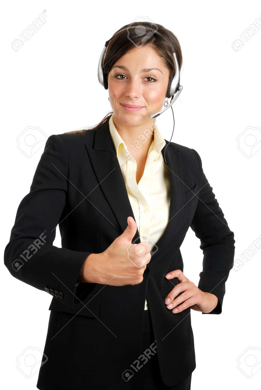 This is an image of a confident communcations business woman giving thumbs up. Stock Photo - 9425147