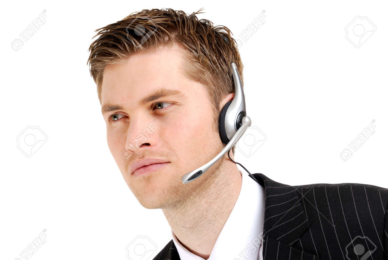 This is an image of a customer service operator looking away. Stock Photo - 9436506