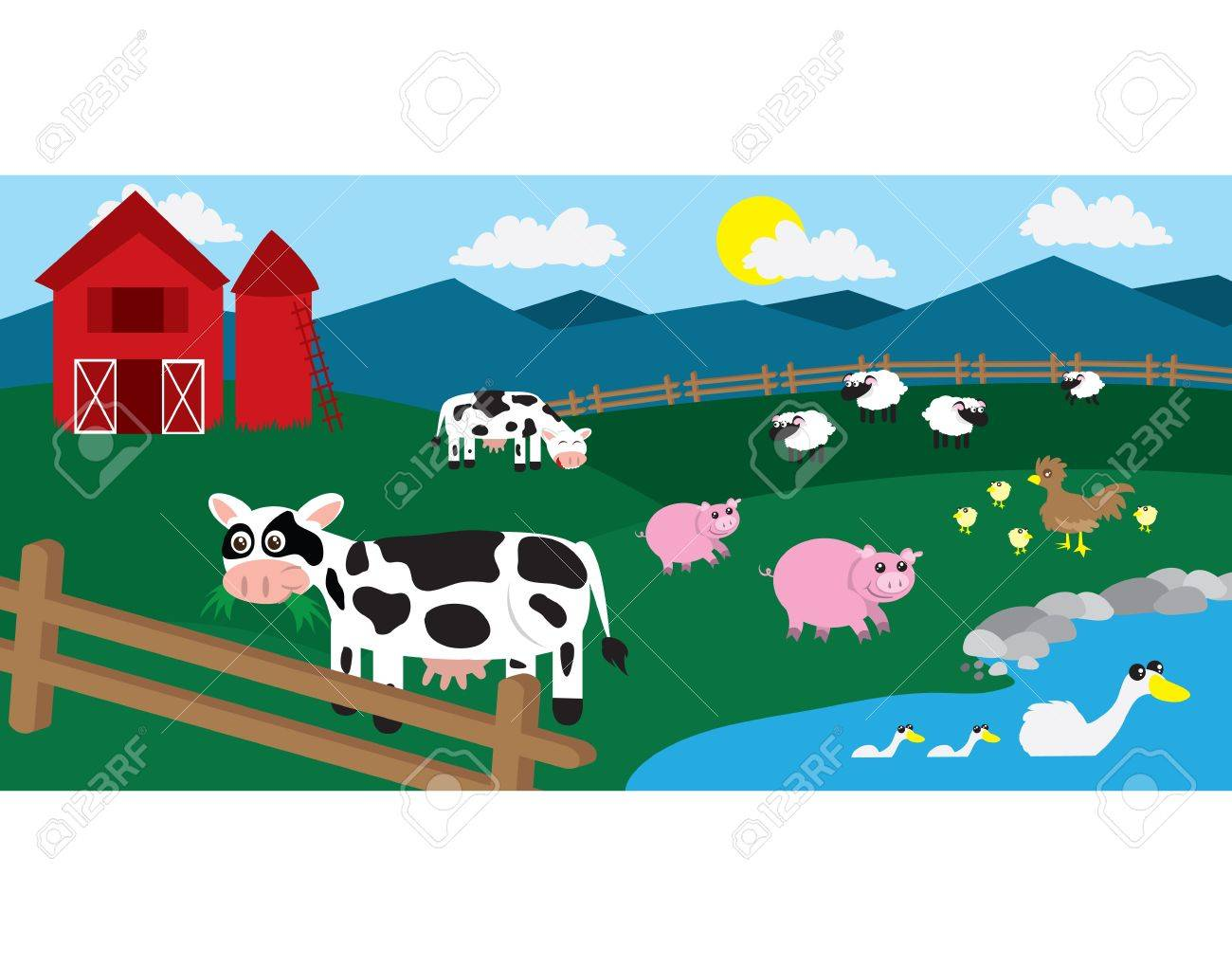 Cow on green pasture with red barn with grain silo royalty free stock - Red Barn And Silo Cartoon Farm With Various Animals Throughout The Field
