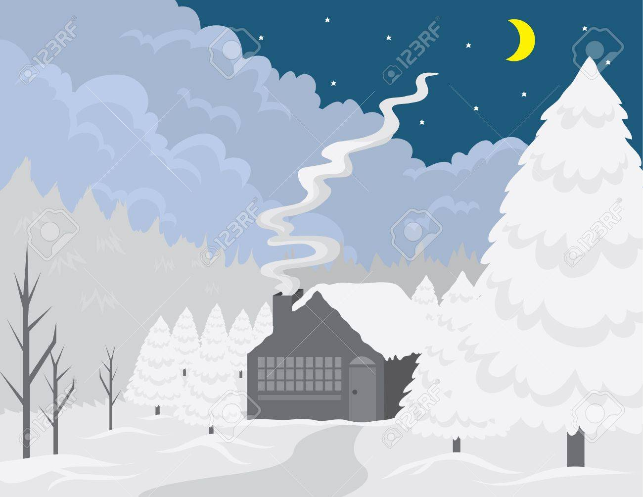 Small cottage in the woods at wintertime. Stock Vector - 11307941