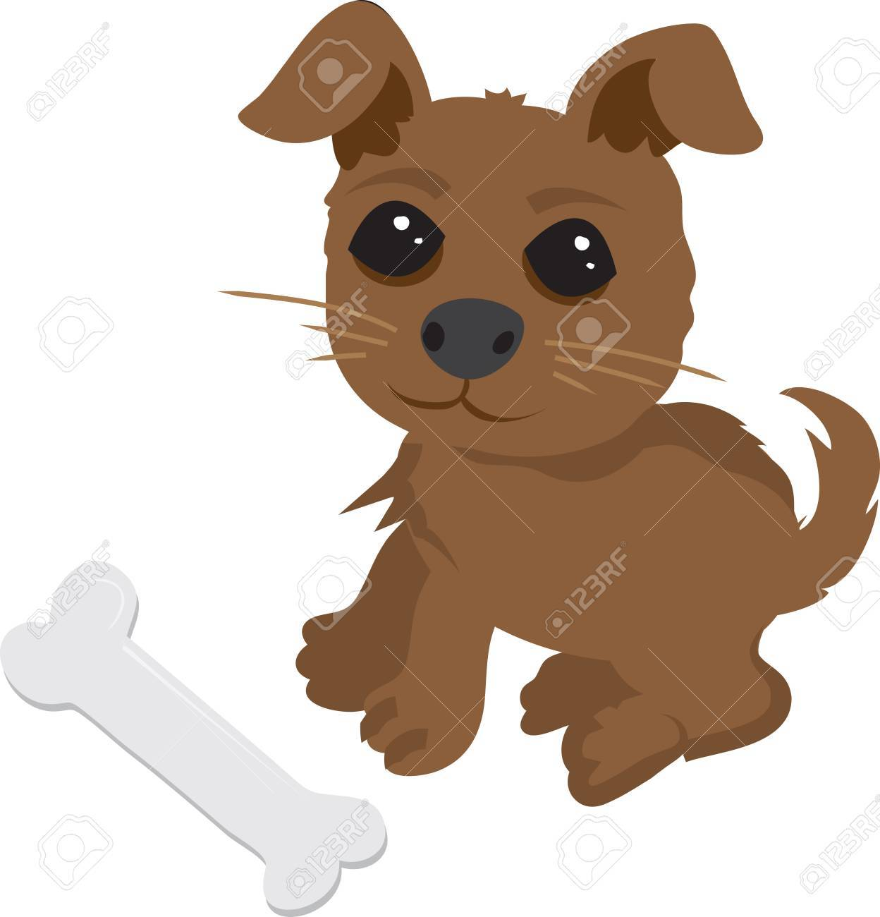 Friendly puppy with bone Stock Vector - 11561669