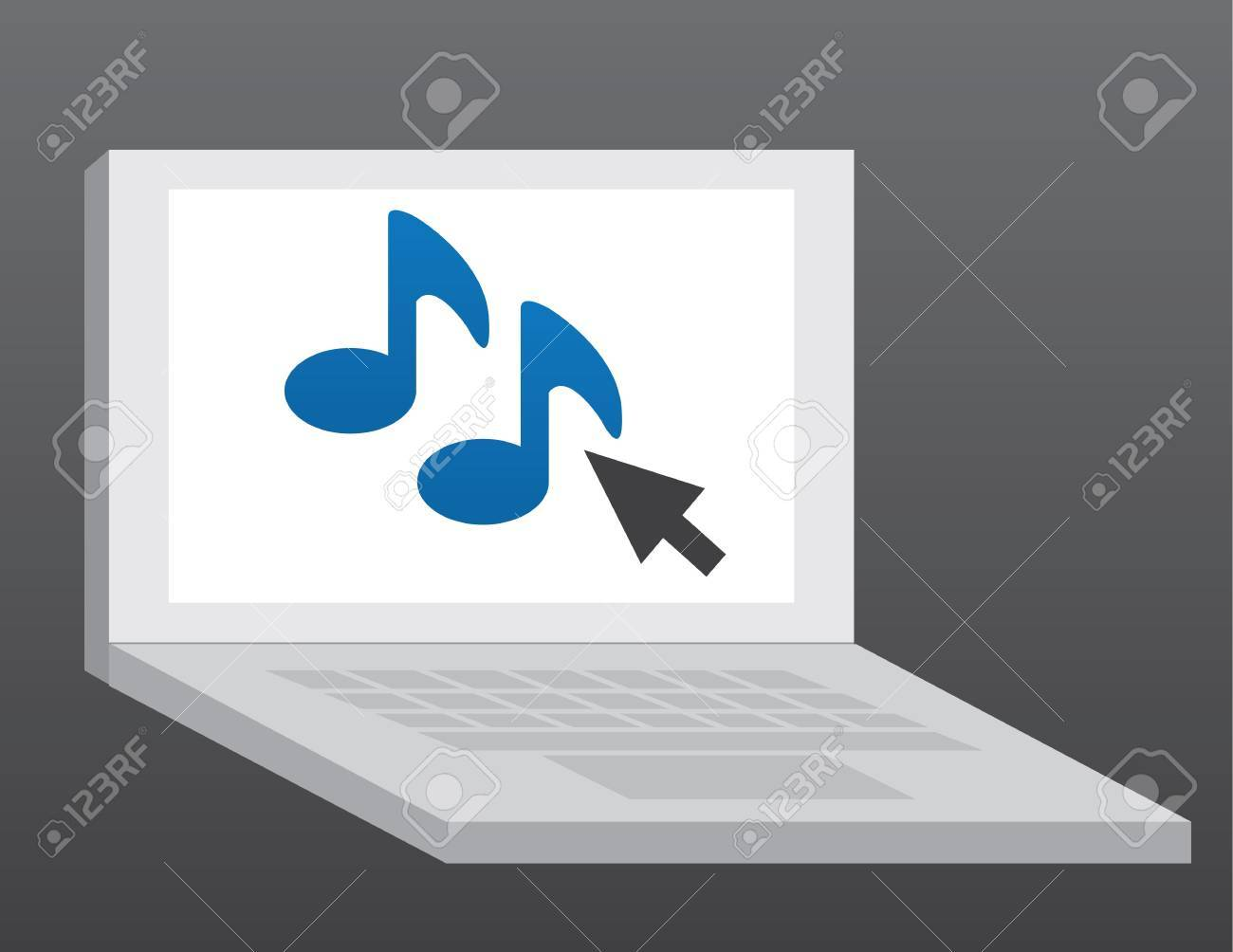 Laptop computer with music note symbol Stock Vector - 11561748