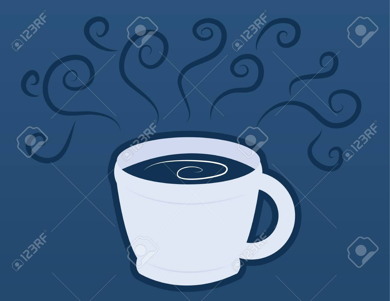 Coffee or chocolate milk mug with blue steam Stock Vector - 11664275