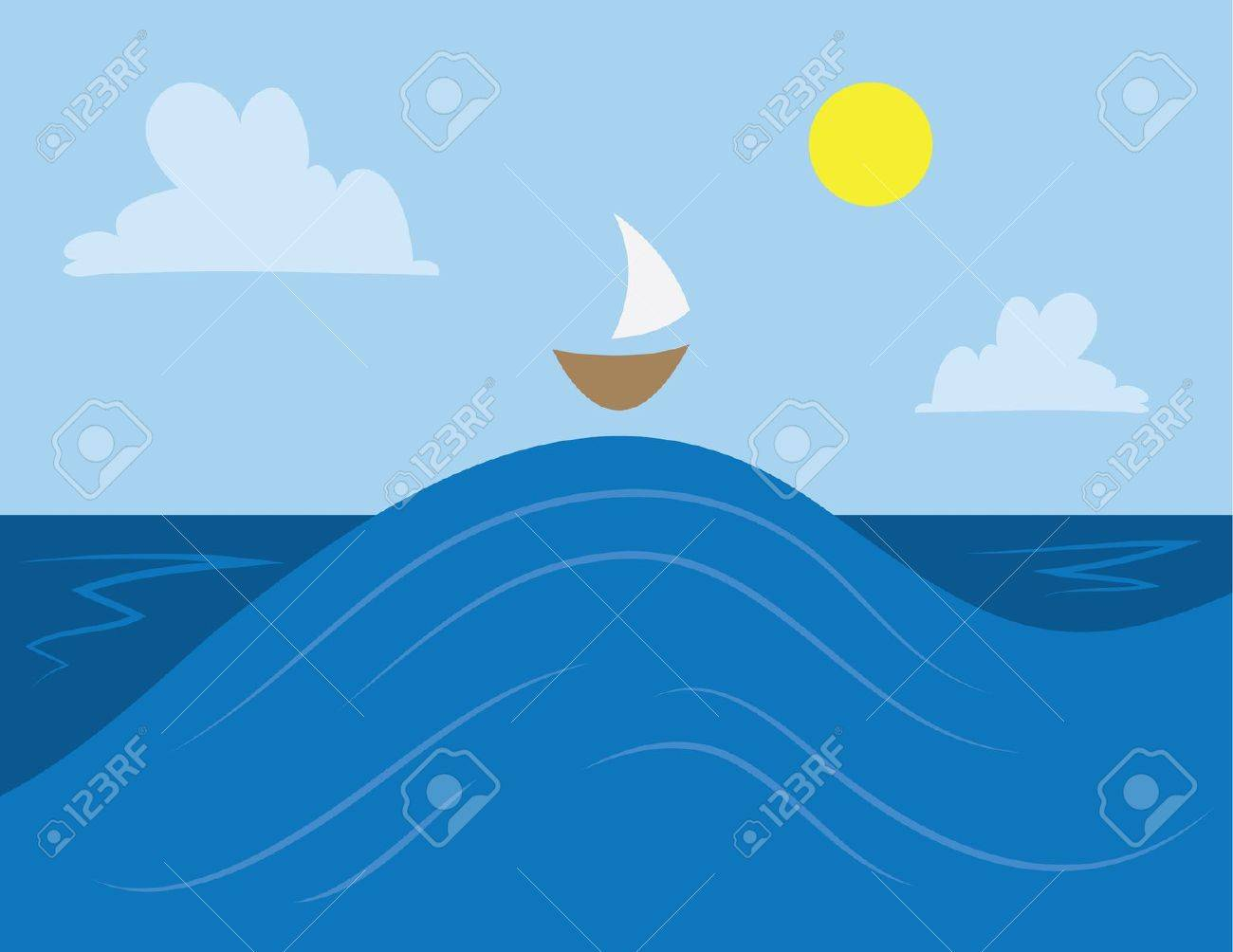 Ocean scene with a small boat on the top of a large wave royalty ocean scene with a small boat on the top of a large wave stock vector voltagebd Gallery