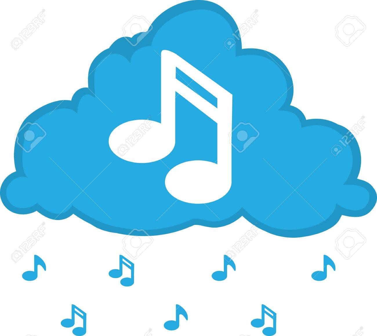 cloud with music notes floating down royalty free cliparts vectors rh 123rf com Single Music Notes Single Music Notes