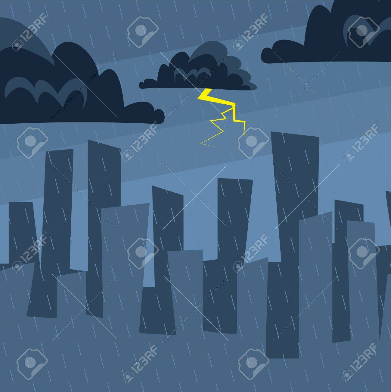 Nighttime city skyline in the rain Stock Vector - 11785774