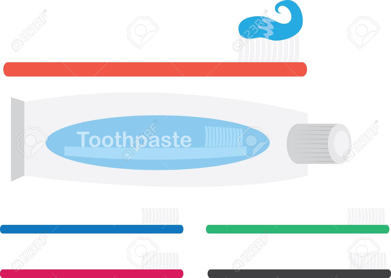 Various Toothbrushes and toothpaste tube Stock Vector - 11866178