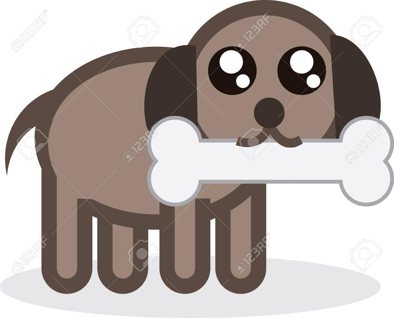 Cartoon puppy with a bone Stock Vector - 12002541