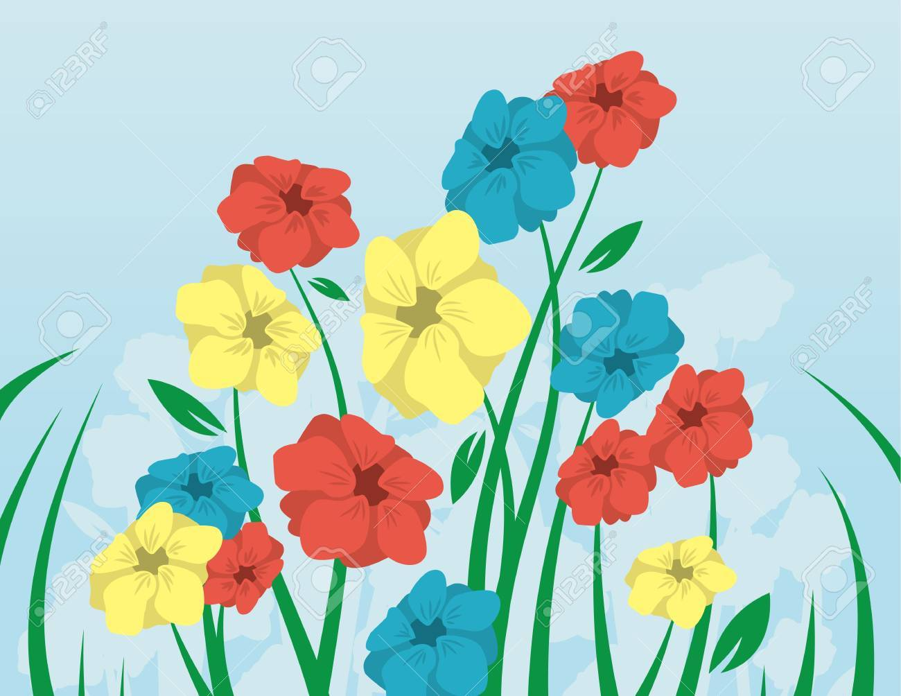 Flowers with long stems coming up from the grass Stock Vector - 12174504
