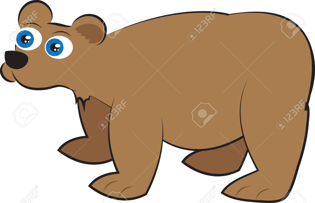 Isolated cartoon brown grizzly bear standing Stock Vector - 12174498