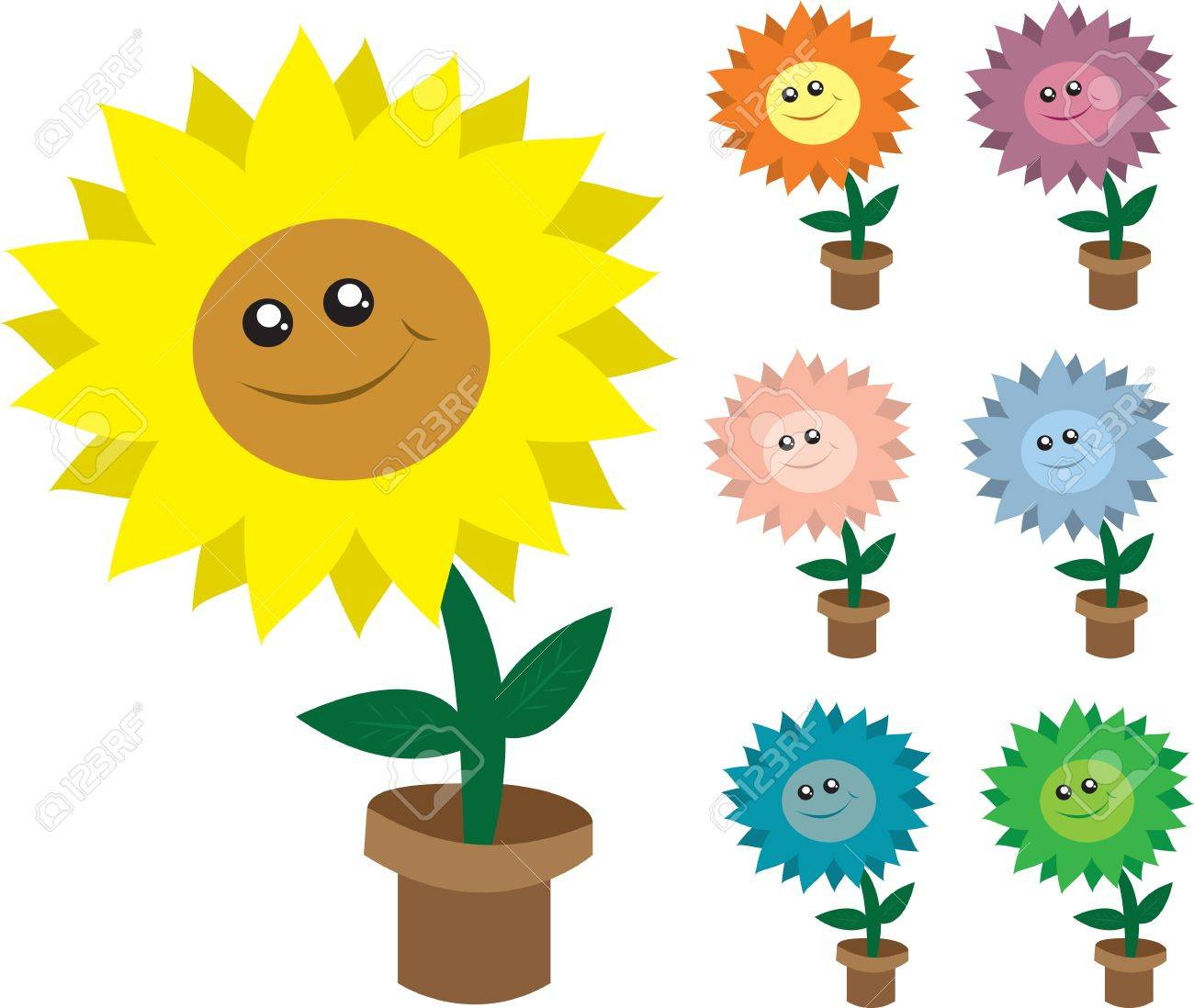 Isolated smiling potted flowers.  Various colors. Stock Vector - 12174555