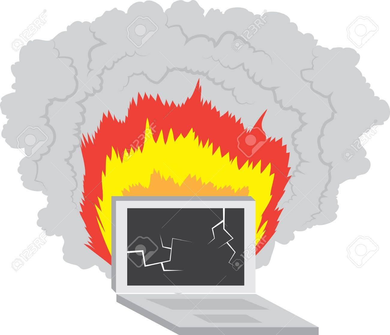 Laptop computer broken and on fire Stock Vector - 12472388