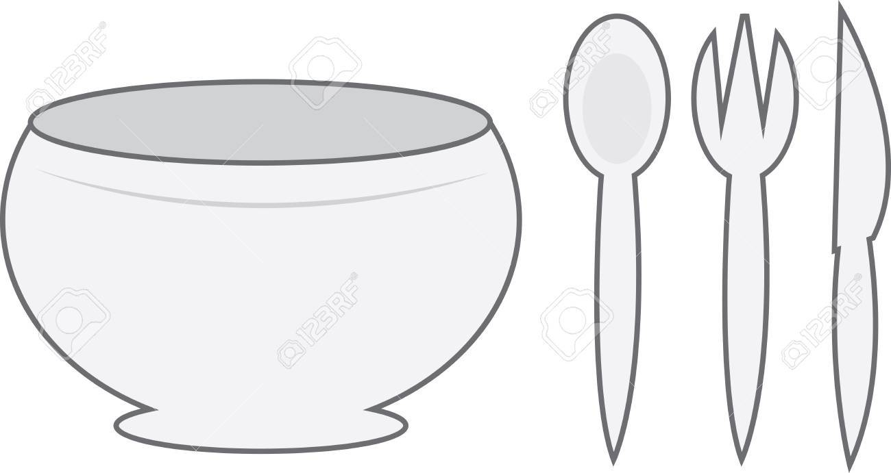 Cartoon bowl with spoon, fork and knife Stock Vector - 12472408