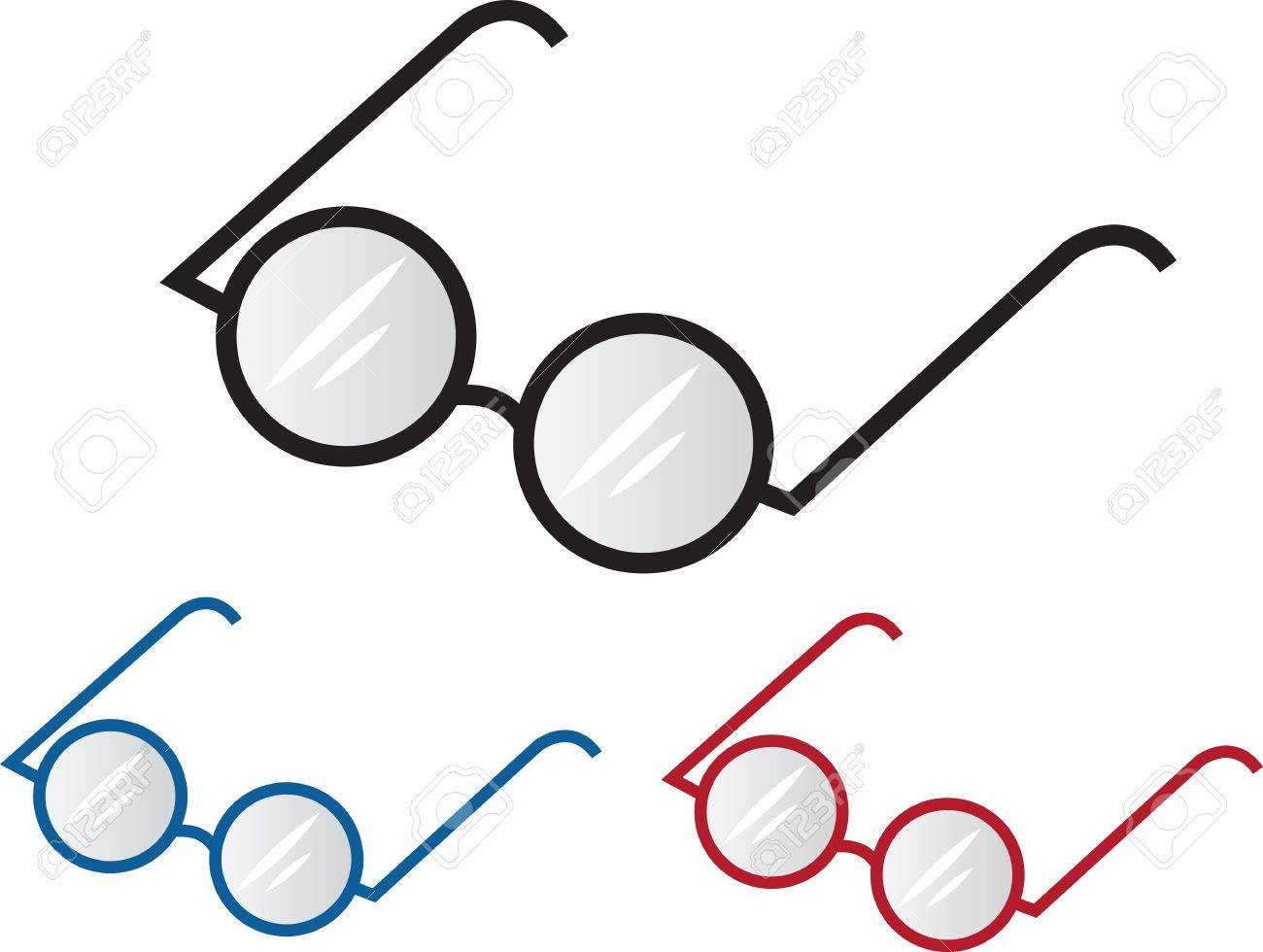 Three Different Colored Glasses Frames Royalty Free Cliparts ...