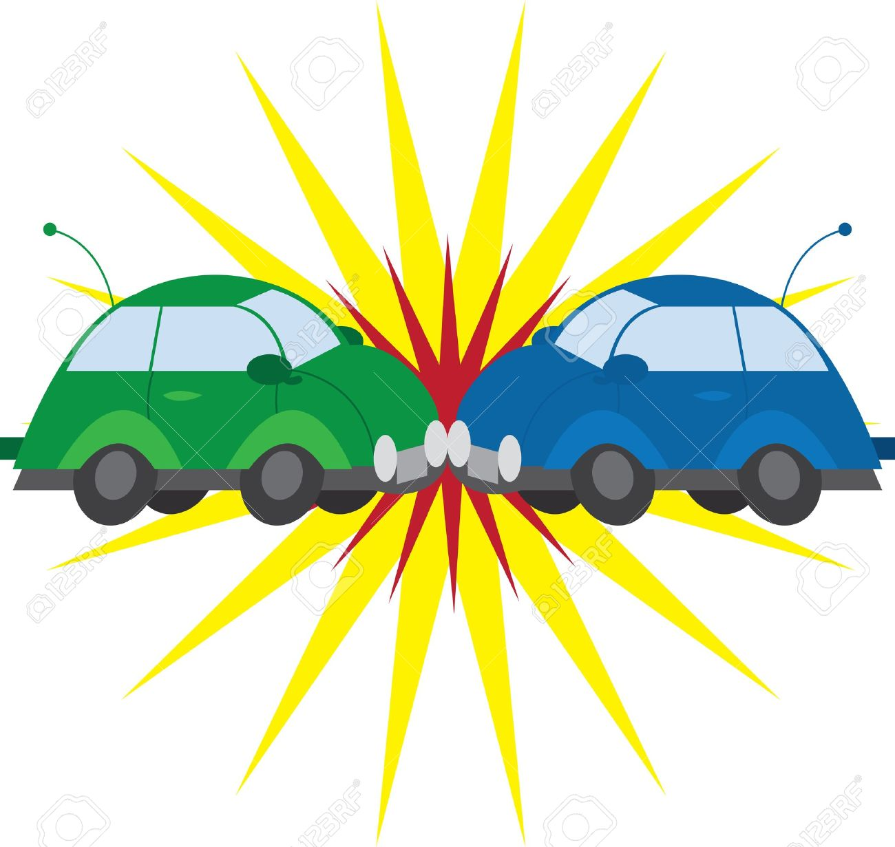 Two cars crashing with explosion - 12855397