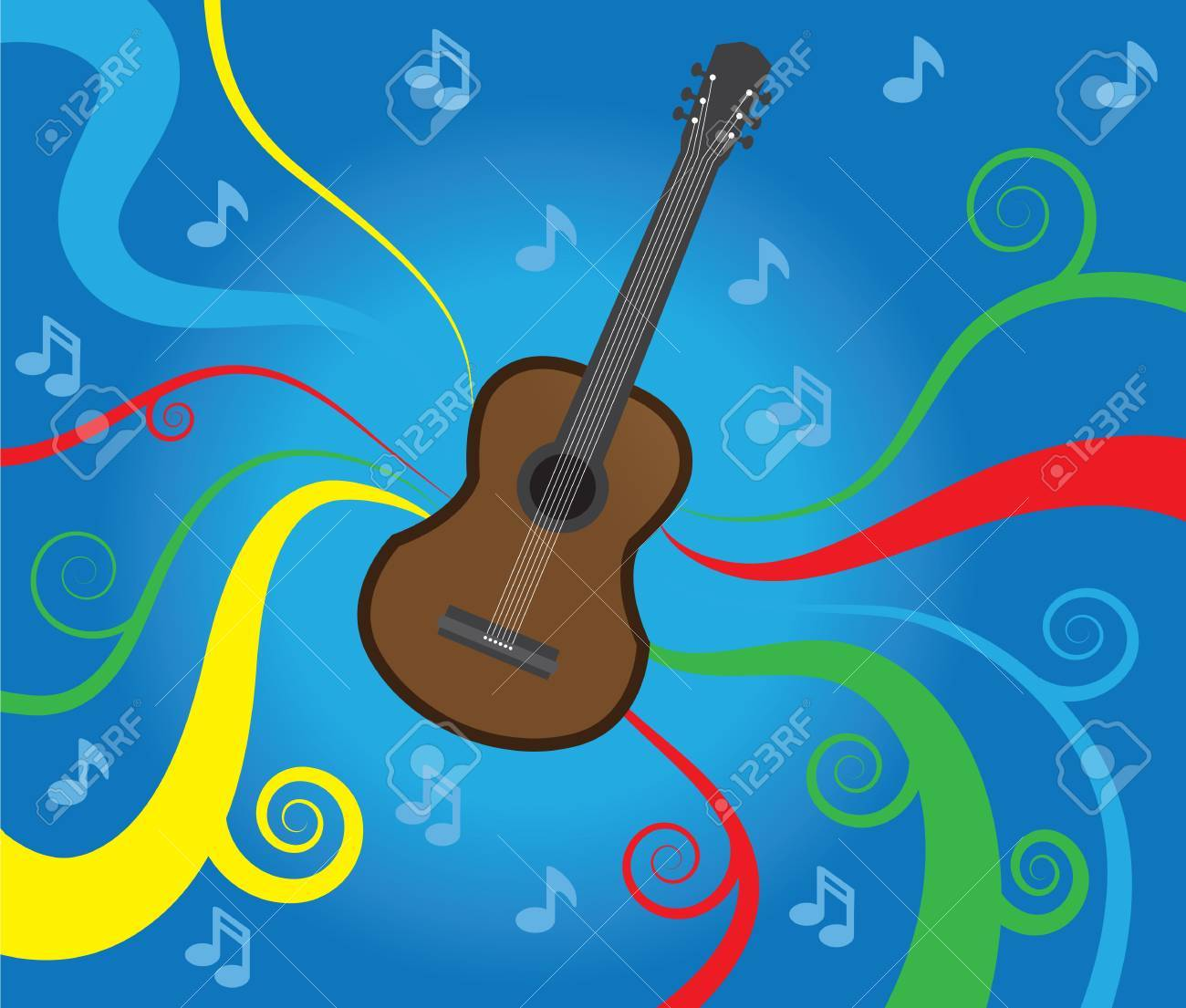 Music graphics flowing behind a guitar Stock Vector - 13070415