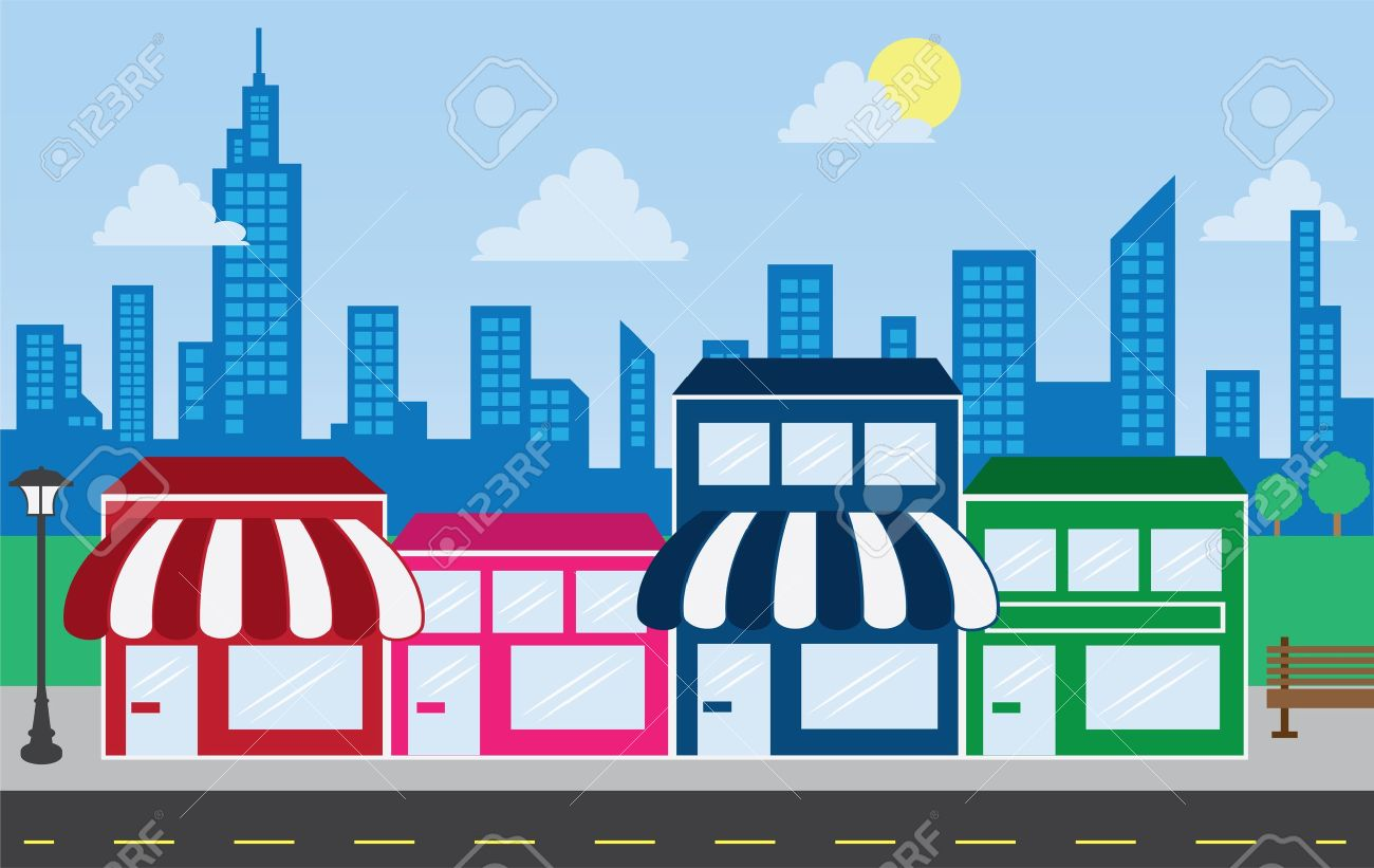 Store front strip mall stores with city skyline in the background Stock Vector - 13115472