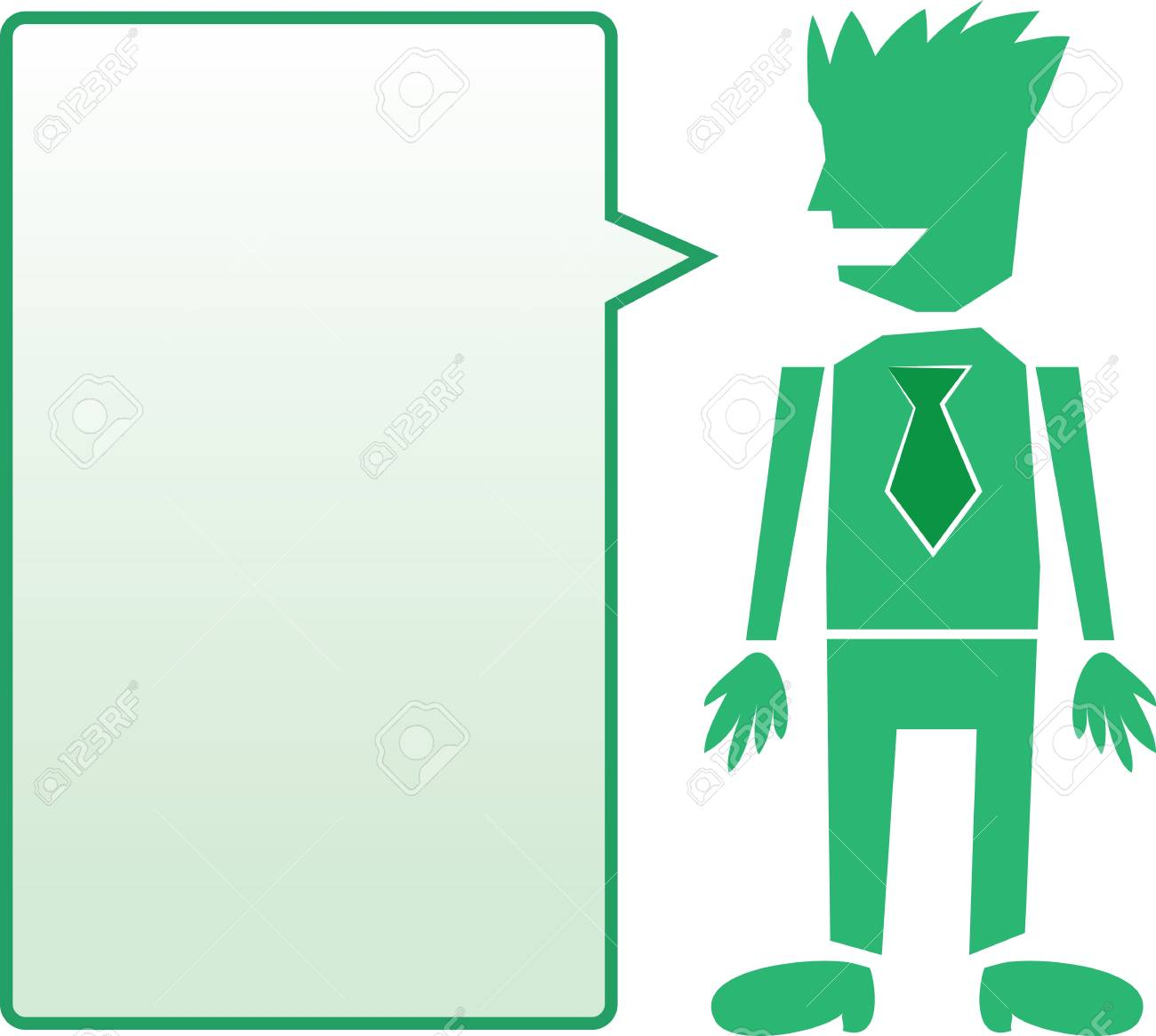 Isolated business man with tie and green blank speech bubble Stock Vector - 13955578