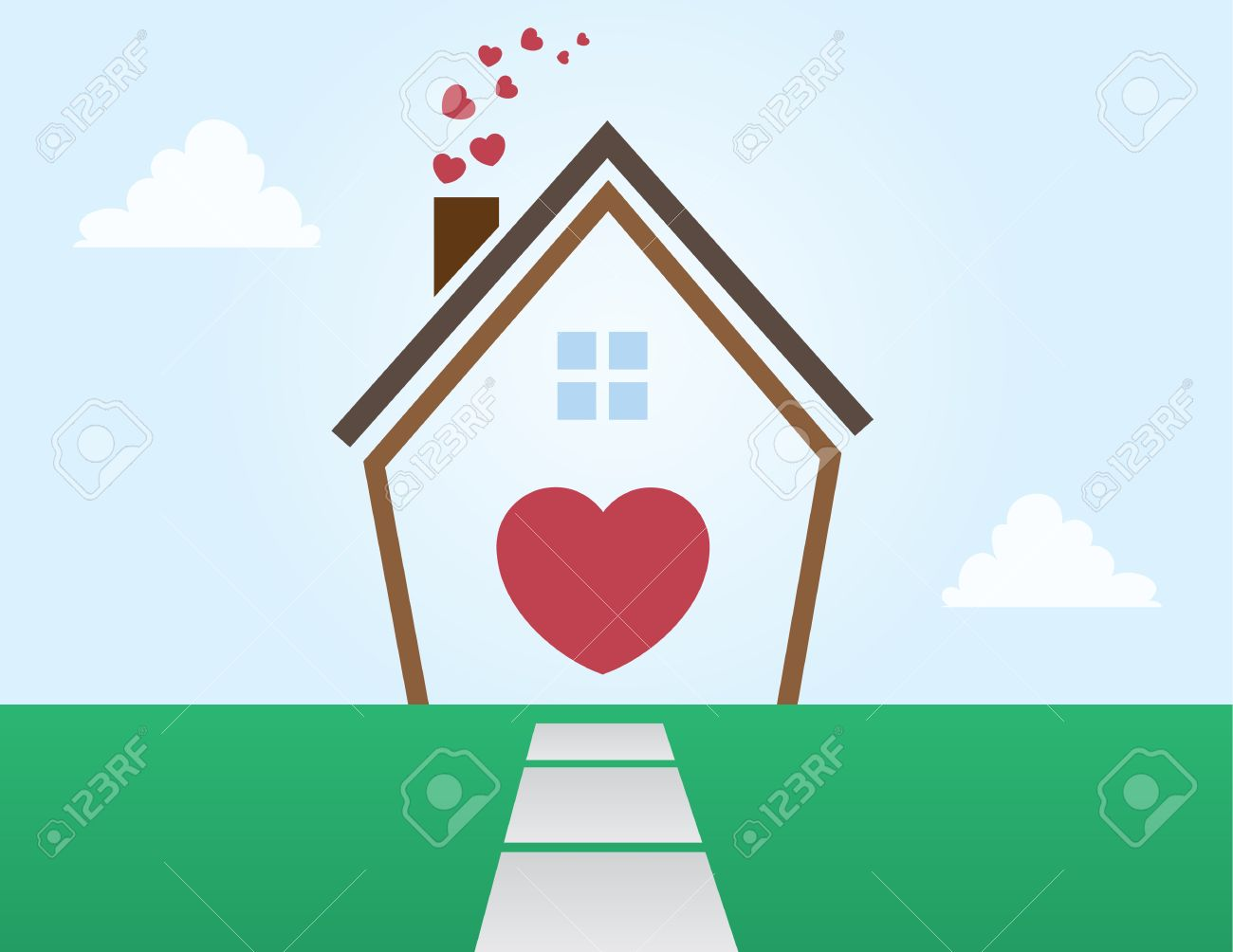 House outline picture - House Outline Abstract With Hearts Stock Vector 14294003
