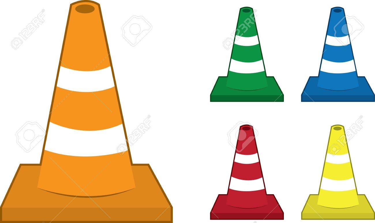 Safety cones in various colors Stock Vector - 14294002