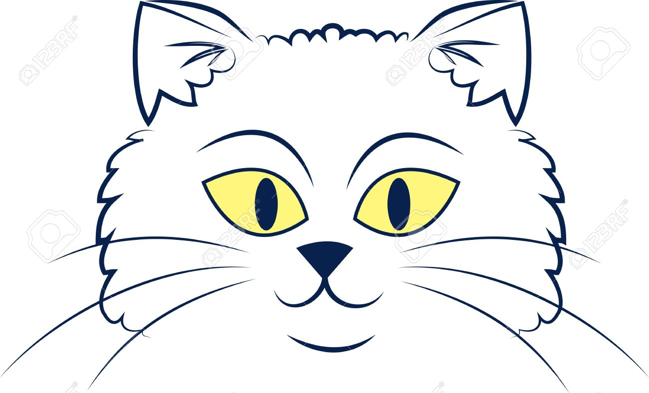 Large Outlined Cartoon Cat Face Royalty Free Cliparts Vectors
