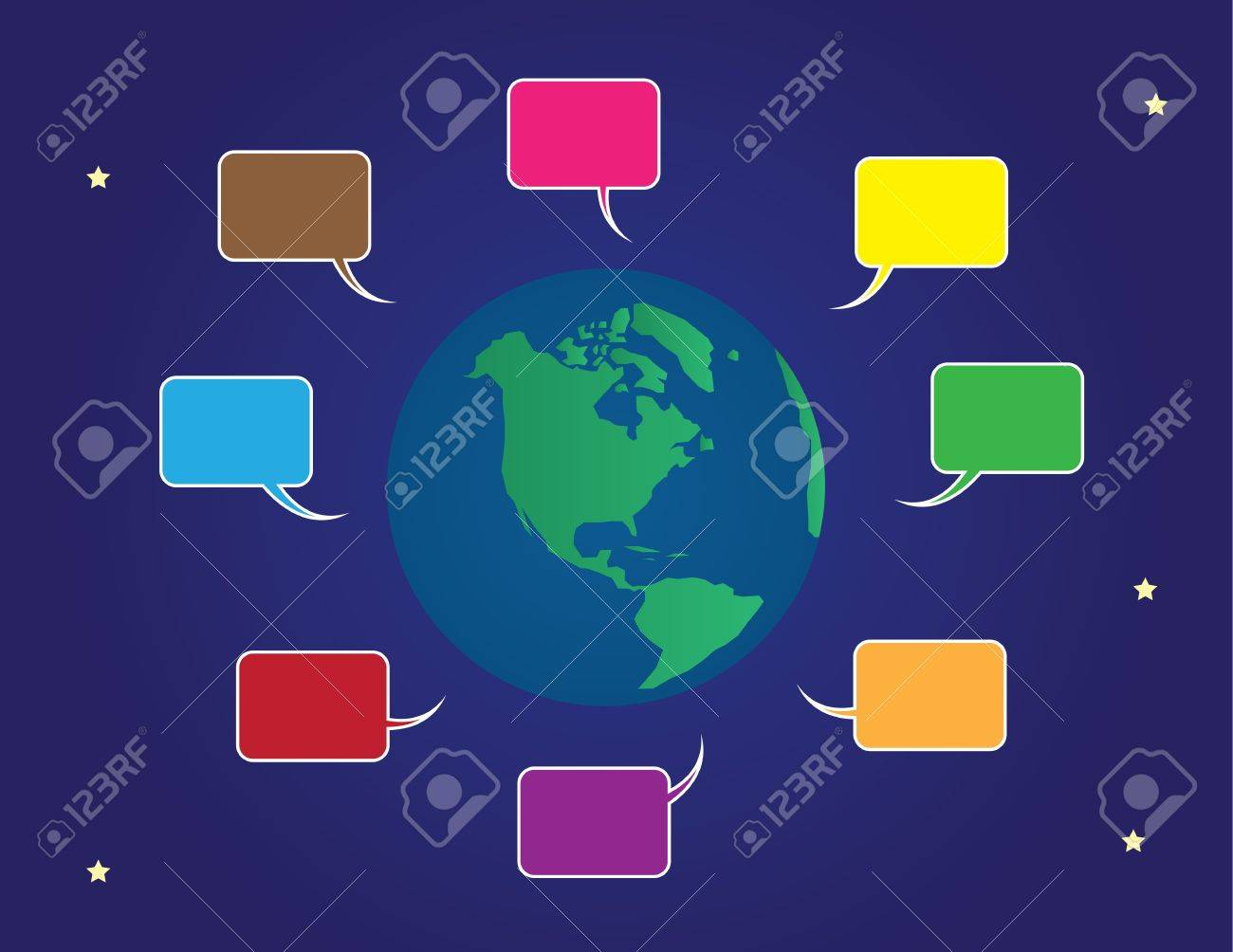 Earth surrounded by various colored speech bubbles Stock Vector - 14874603