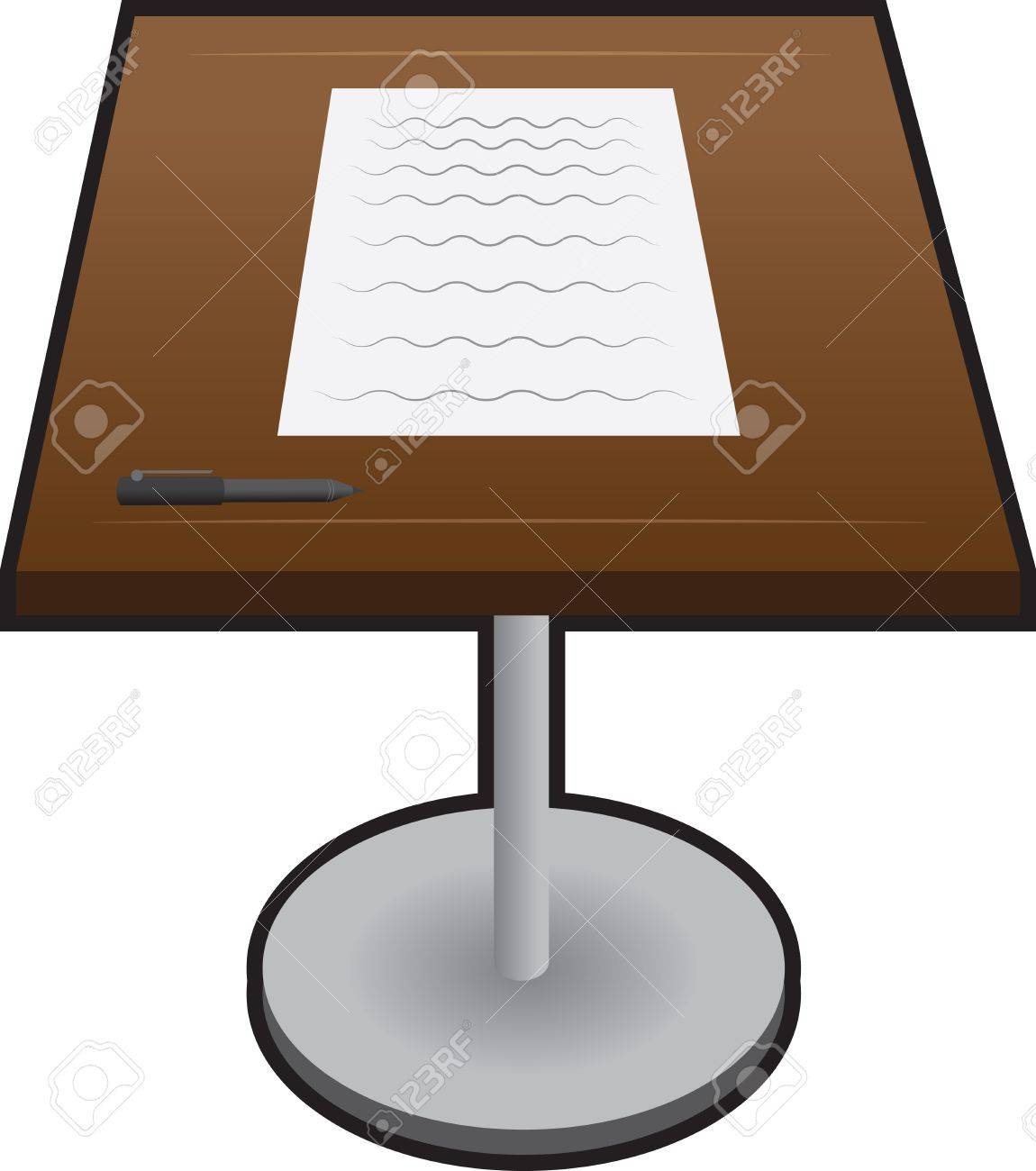 Isolated podium with paper and pen Stock Vector - 14953775