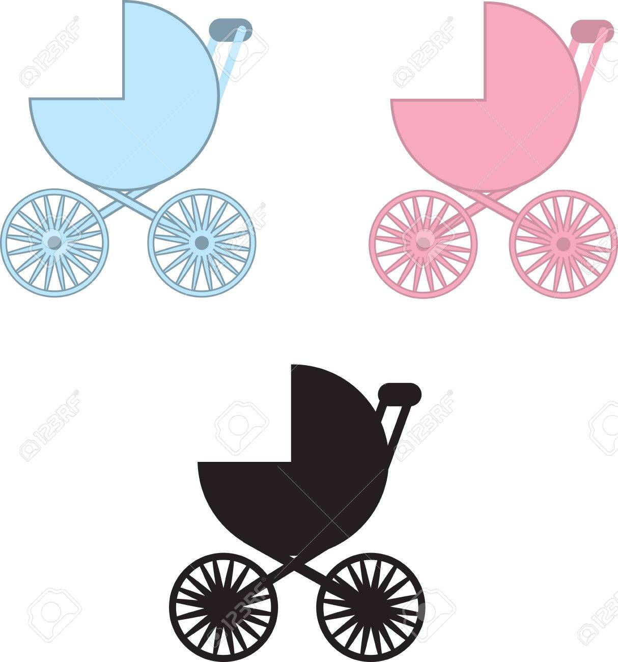 Isolated baby carriages in blue, pink and black silhouette Stock Vector - 15032634