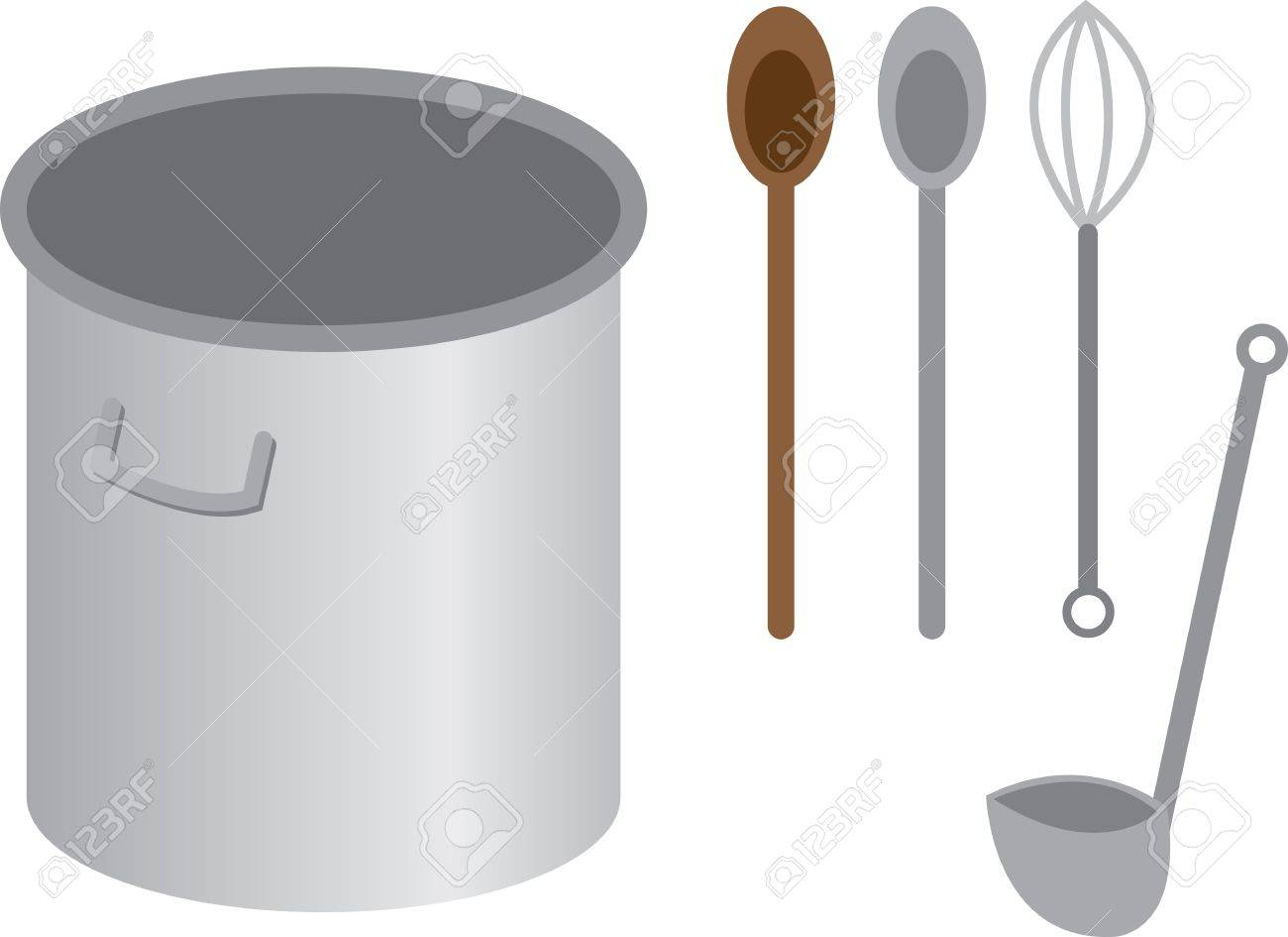 Stainless steel cooking pot with spoon whisk and ladle Stock Vector - 15385285