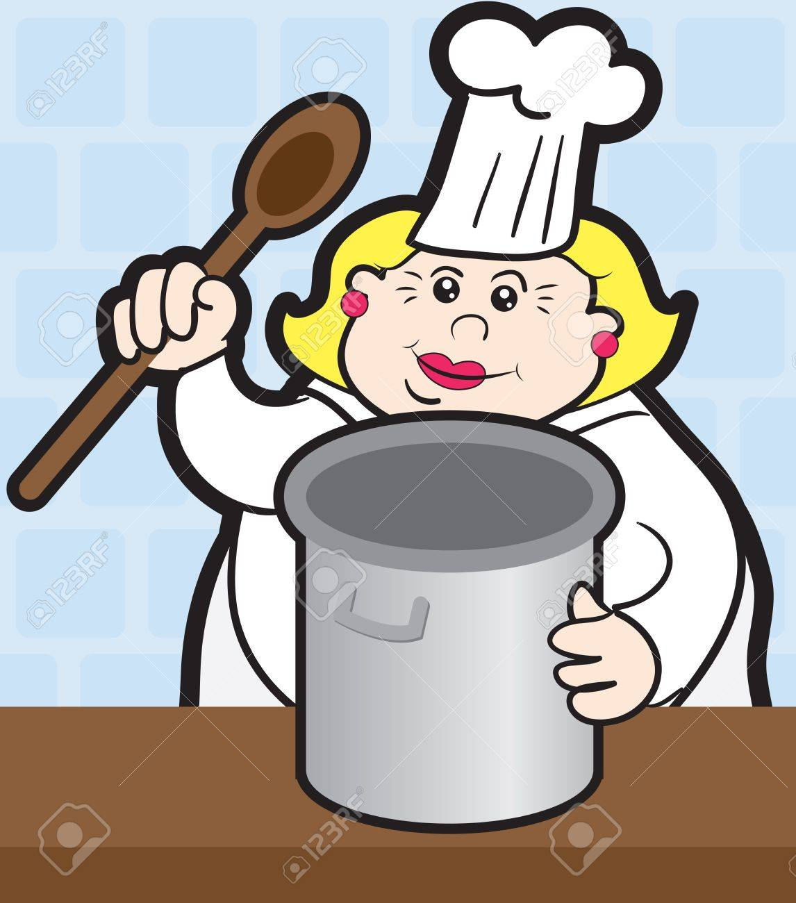 Woman chef cooking with large pot Stock Vector - 15544544
