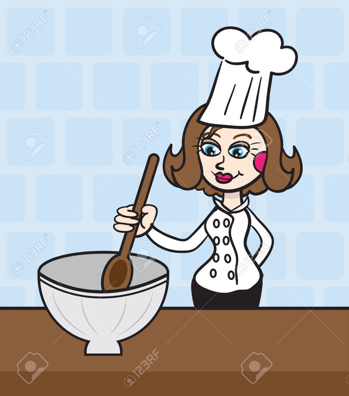 Woman chef mixing in large bowl Stock Vector - 15559171
