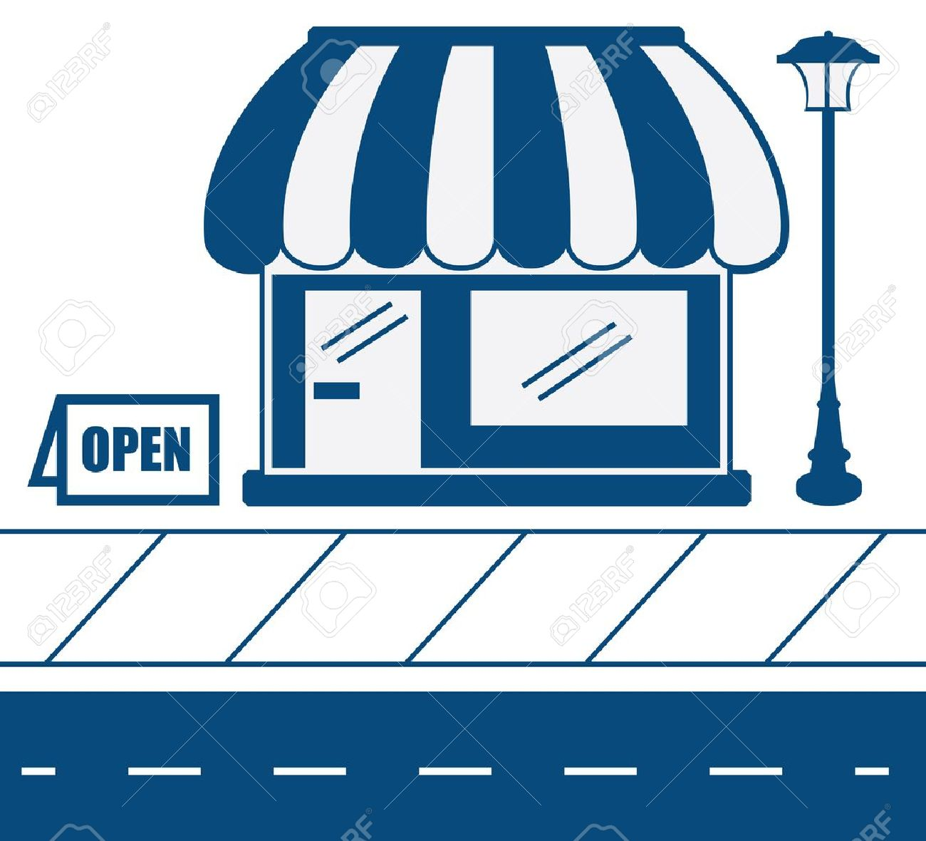 Store shop front in blue with sidewalk Stock Vector - 16450136