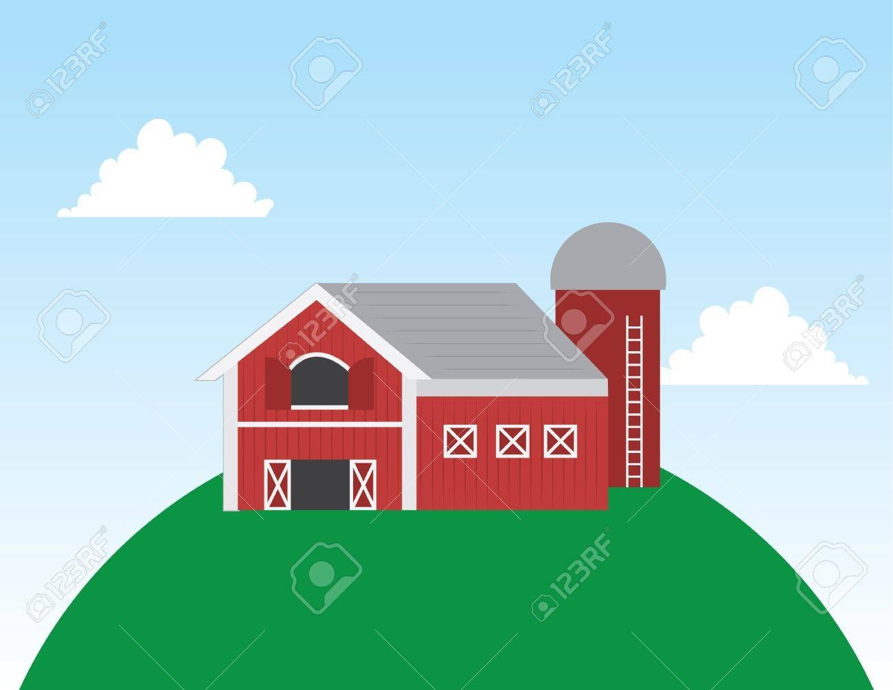 Black and white cartoon barn clip art vector - ClipartAndScrap