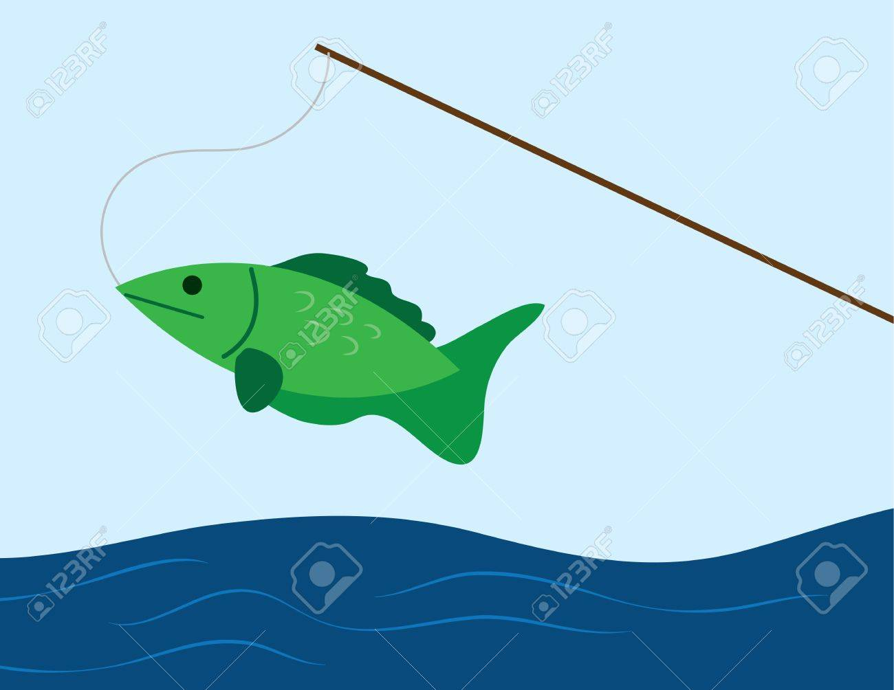 fish caught on a fishing pole royalty free cliparts, vectors, and, Fishing Rod