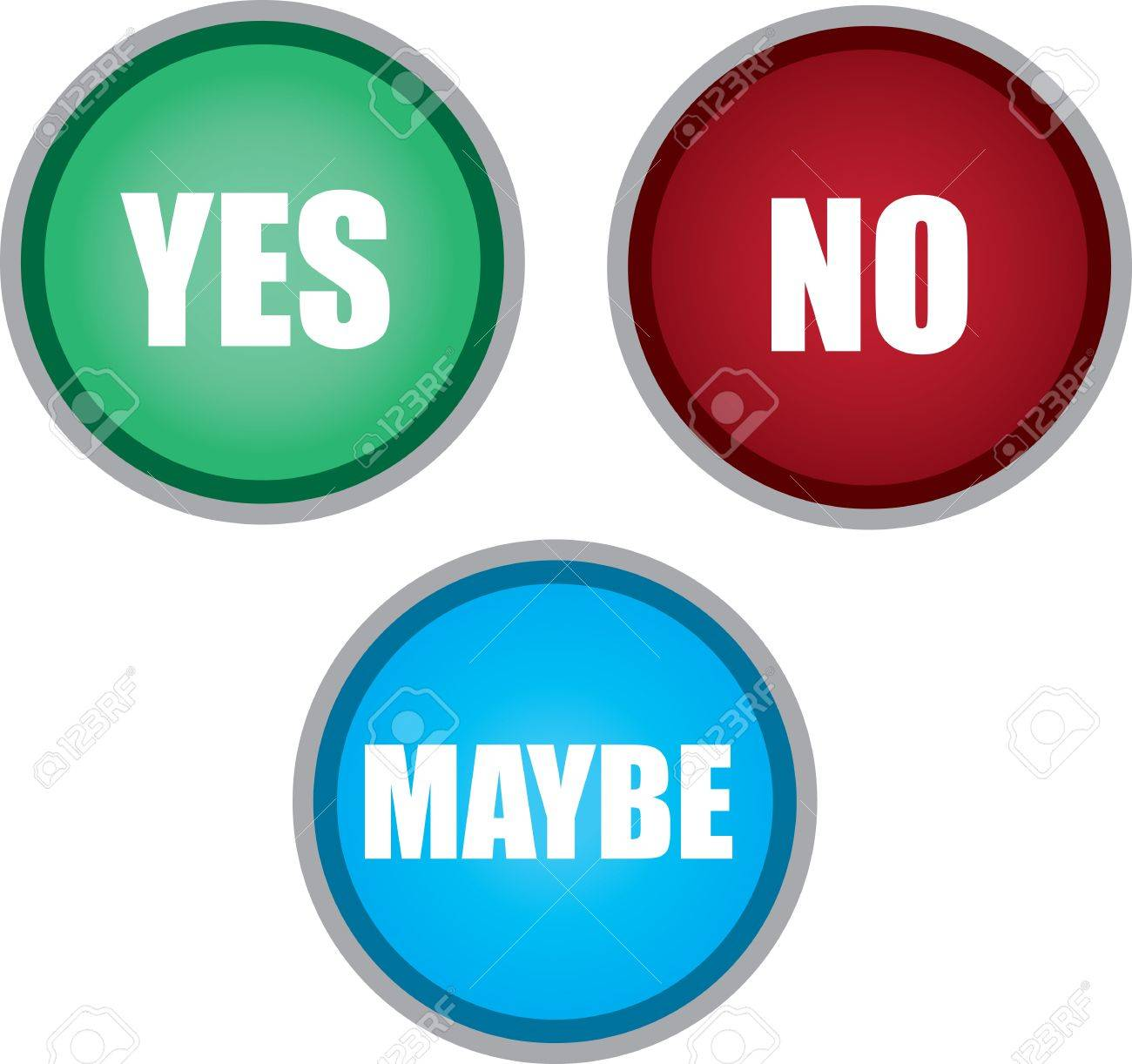 Yes no and maybe buttons isolated Stock Vector - 16959054
