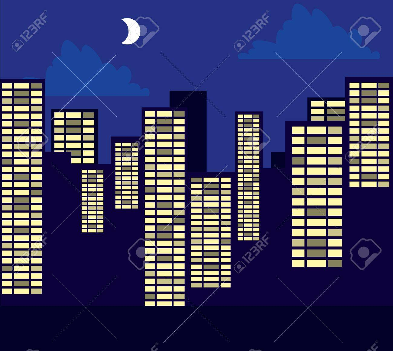 Buildings skyline and street at night in purple Stock Vector - 17210458