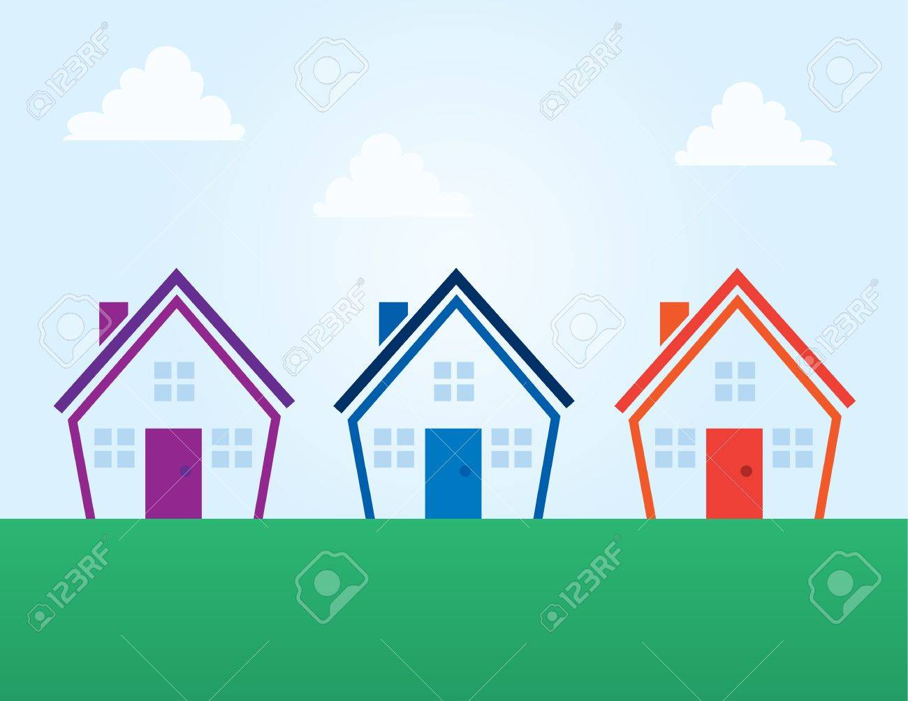 Various colored outline abstract houses Stock Vector - 17320436