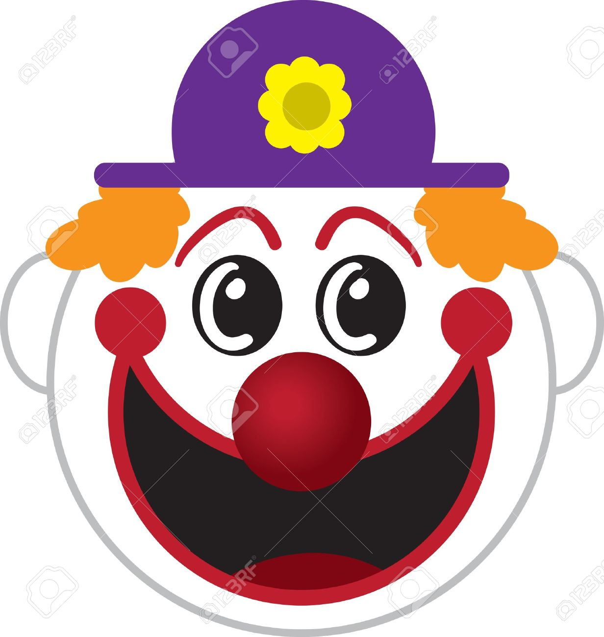 Large isolated cartoon clown face - 17320437