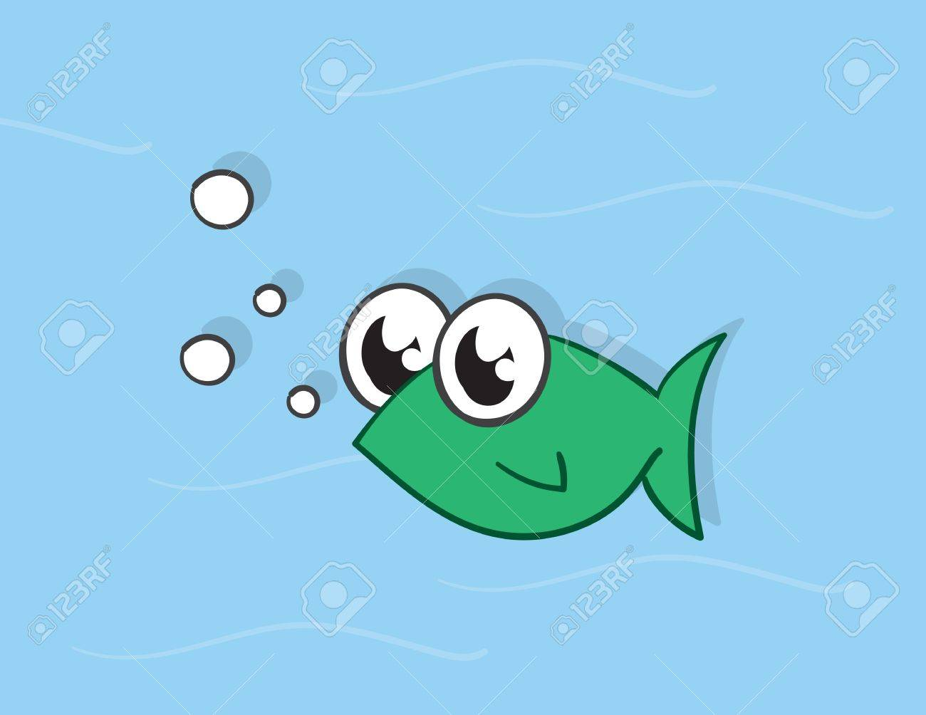 Green fish character in the water Stock Vector - 17358893