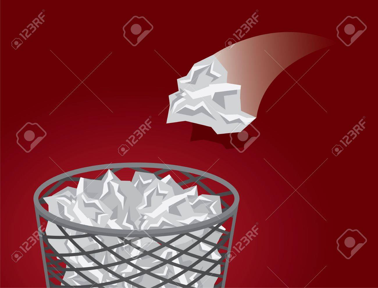 Throwing crushed paper into a mesh garbage Stock Vector - 17567154