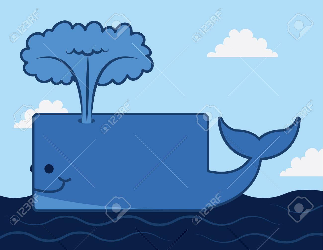 Cartoon whale on top of the ocean Stock Vector - 17567177
