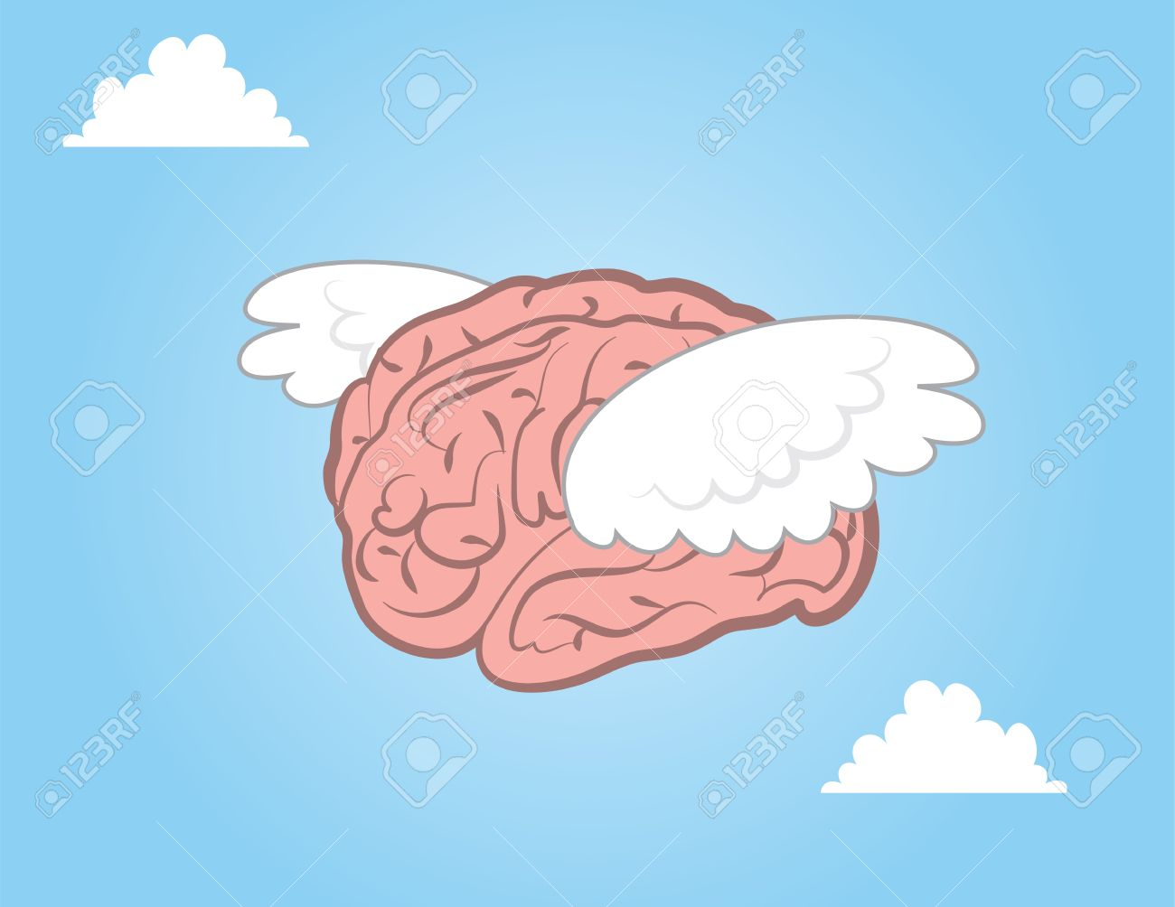 Brain With Wings Flying Through The Sky Royalty Free Cliparts, Vectors, And  Stock Illustration. Image 17811967.