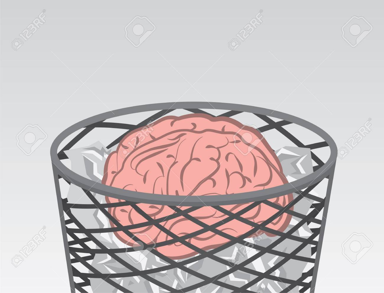 Garbage filled with brain and trash Stock Vector - 18010979