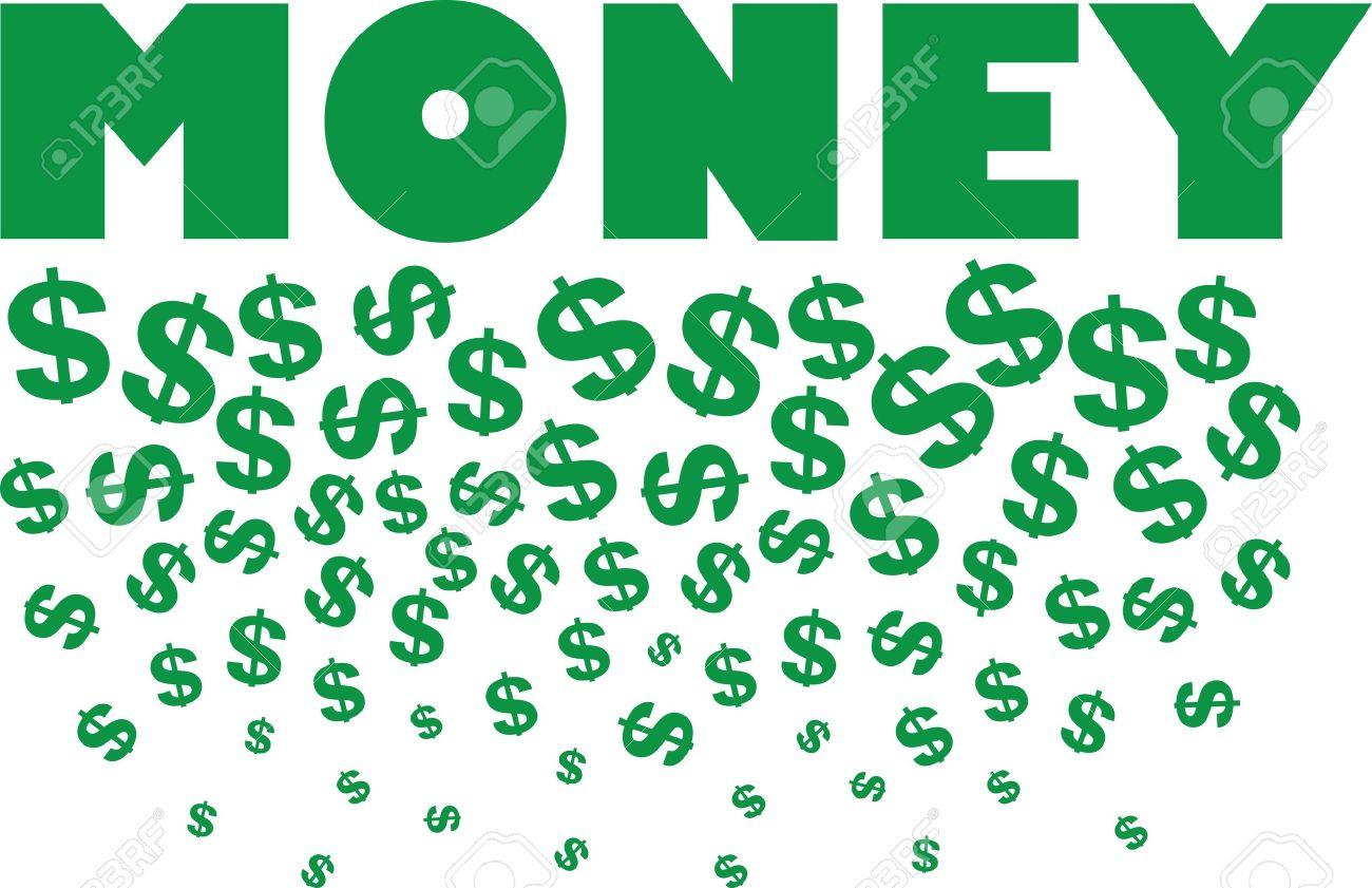 Money Text With Raining Dollar Symbols Royalty Free Cliparts