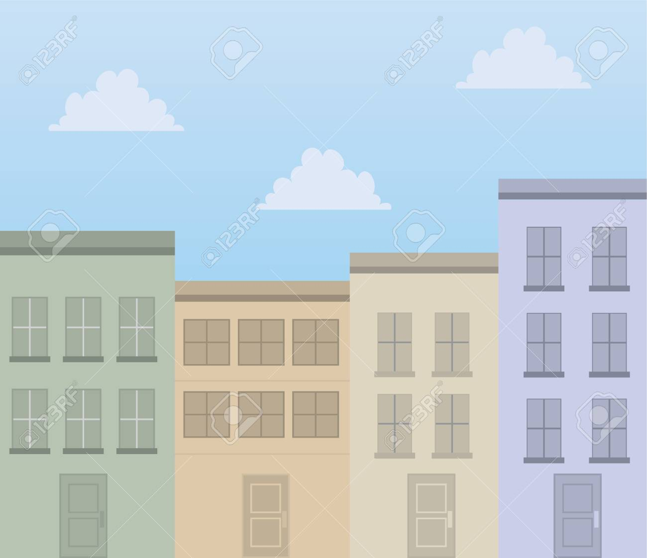 Apartment buildings in front of blue sky Stock Vector - 18339570