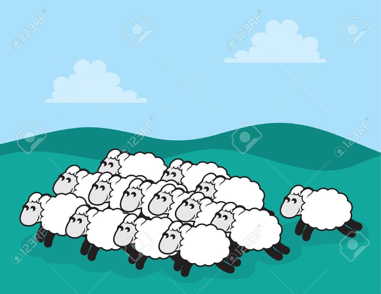 Flock of sheep in a grassy field - 18409507
