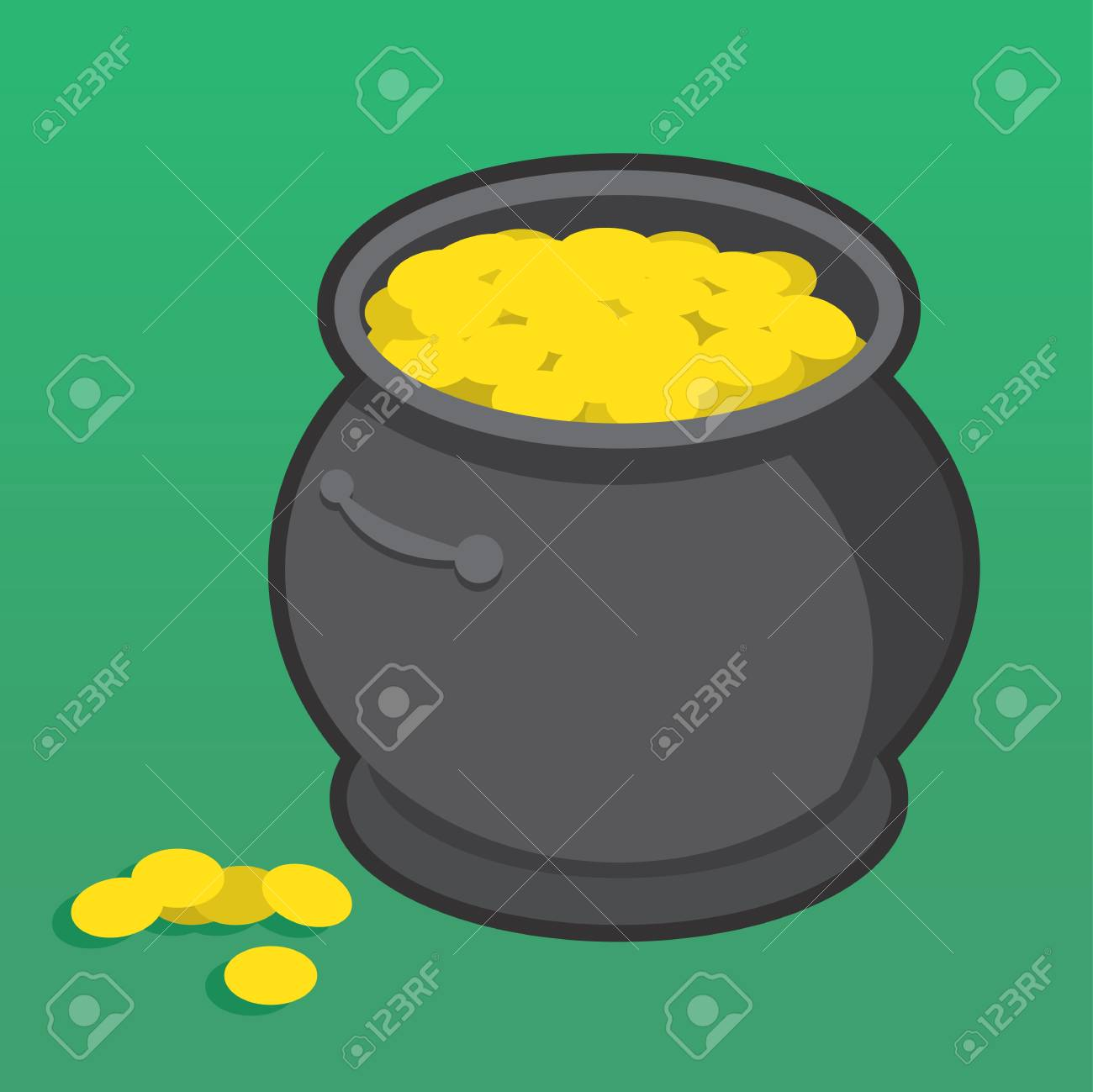 Pot of gold with many coins Stock Vector - 18424566
